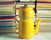 Vintage Sunshine Yellow Enamel Coffee/Tea Pot