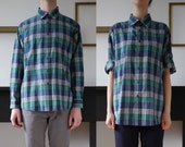 Green and Blue Plaid Button Up Shirt