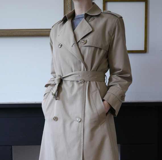 Women's Vintage Trench Coat Khaki Removable Lining