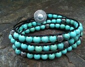 Turquoise Howlite and Sterling Silver Beaded Leather Triple Wrap Gemstone Bracelet