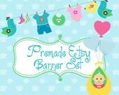 Etsy Banner Set - Premade Etsy Banner - Etsy Shop Banner -  Girl/Boy Baby Set 97 - icon Included!