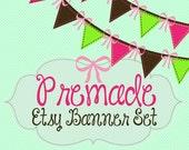 Etsy Banner Set - Premade Etsy Banner - Etsy Shop Banner - Bunting Flags Premade Etsy banner Set 128-  Icon Included!