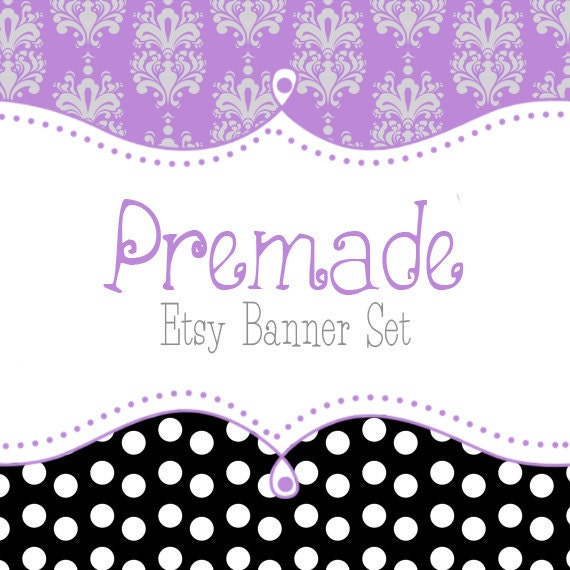 Etsy Banner Set - Premade Etsy Banner - Etsy Shop Banner -  Purple With Black Polka Dots Banner Set 115 - Icon Included!