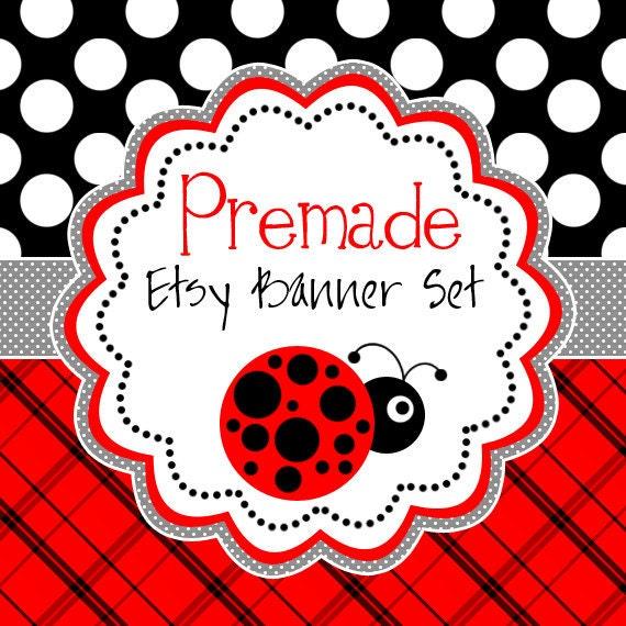 Etsy Banner Set - Premade Etsy Banner - Etsy Shop Banner - Ladybug Banner Set - Icon Included!