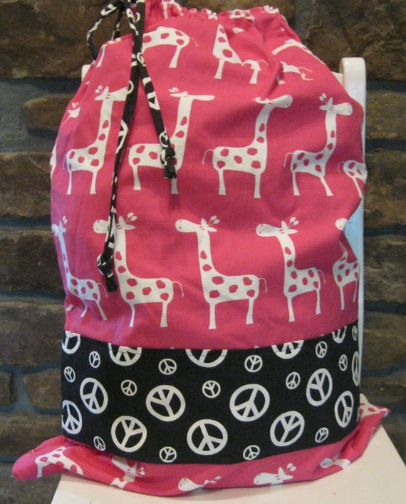 Laundry Bag - Hot Pink Giraffe - Black and White Peace Sign - Graduation