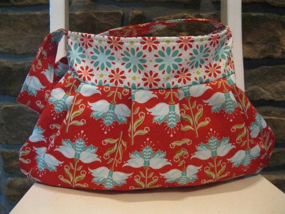 Handmade Fabric Bags Purses - Handbag - Riley Blake - Red and Teal Floral