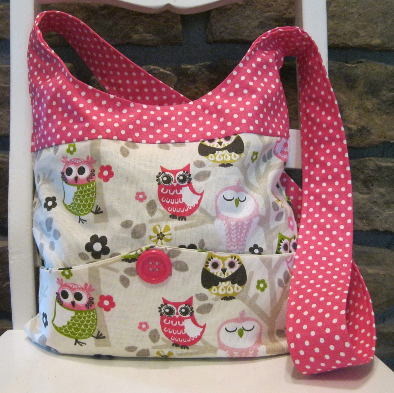 Bags And Purses Patterns : ... Bags Purses - Shoulder bag - Owl and Pink Polka Dot Pattern Fabric on