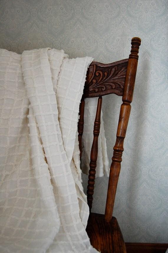 Vintage Chenille Bedspread Ivory