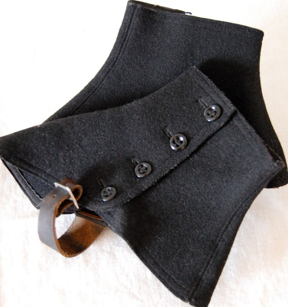 Early 1900s Black Wool Spats