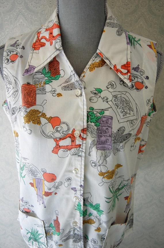 Ship 'n Shore Graphic Print Sleeveless Smock Top Blouse