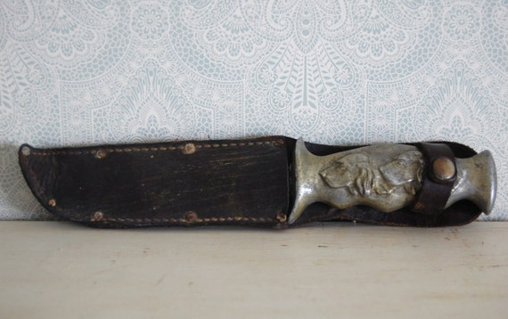 Amazing Antique Hunting Knife with Cast Hunting Dogs Handle and Sheath