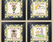 Four (4)12x12- Original Framed Children Wall Art- Hey Diddle Diddle Nursery Rhyme Collection - FREE SHIPPING