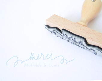 """Personalized Wedding Calligraphy Merci Stamp - 3"""" custom rubber stamp with names and date for DIY wedding thank you notes and favors"""