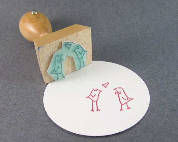 Love Rubber Stamp - 1 1/8 inch rubber stamp with lovebirds - love is in the air READY TO SHIP