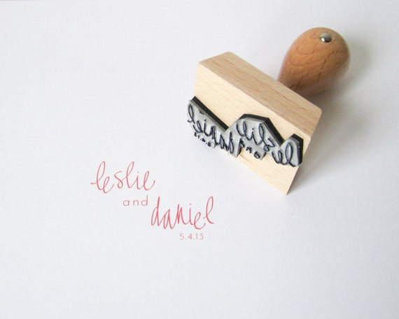 "Custom Wedding Calligraphy Stamp - 2"" hand written custom wedding rubber stamp personalized with names and date - H0002"