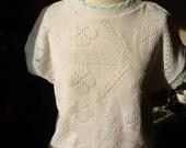 White & Aqua Pointelle jumper -  1940s STYLE -  L /  XL