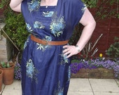 Silken Blue Floral Dress - XL / XXL / Plus Size