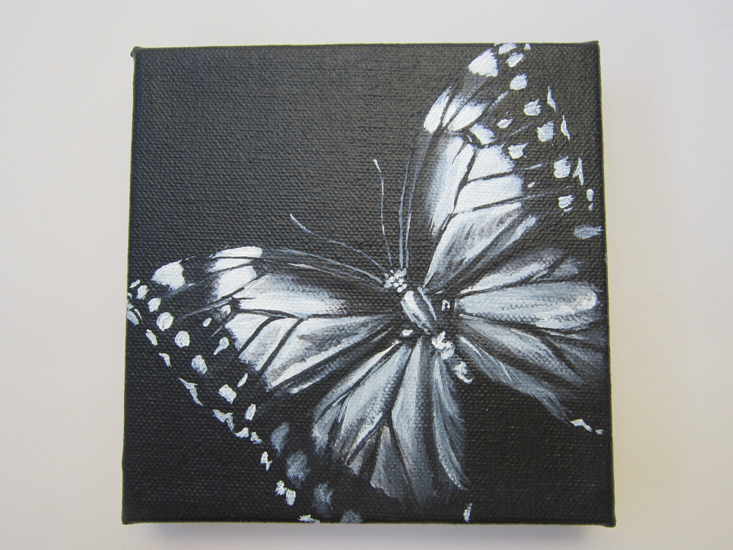 original square canvas acrylic painting black and white