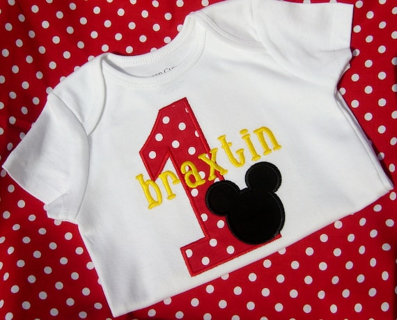 Mickey Mouse Applique Personalized Birthday Shirt