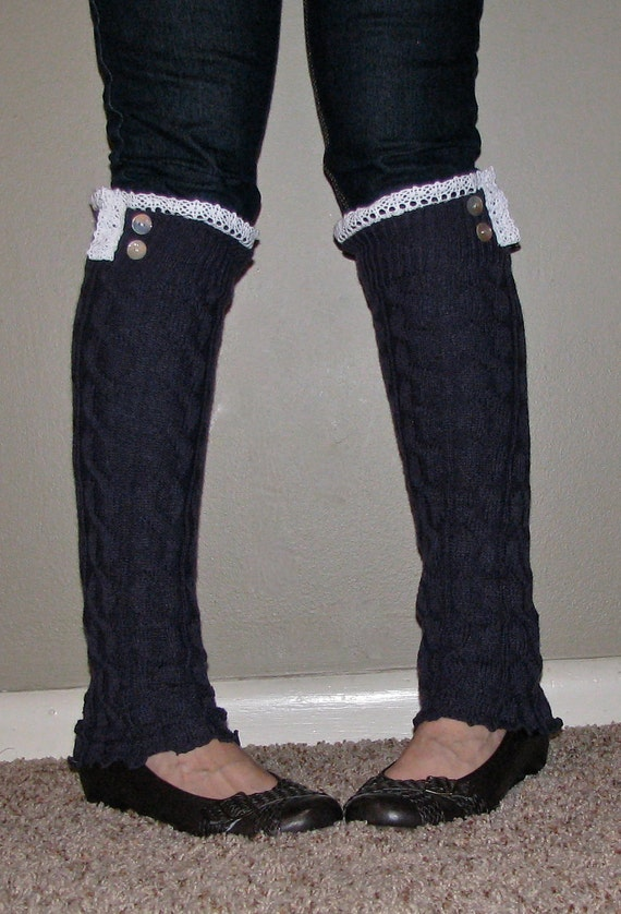 Lace And Button Leg Warmers / Boot Socks In Slate Blue.