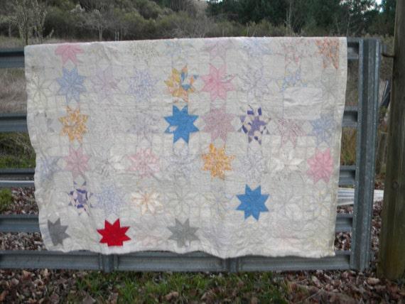 Vintage Shabby  Handmade Quilt
