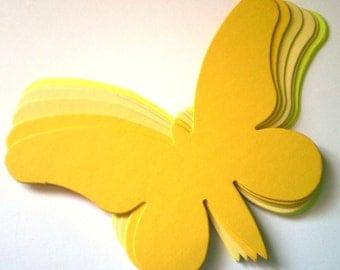 15 Large Yellow Die Cut Butterflies