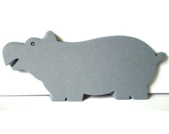 12 Large Grey Die Cut Hippos