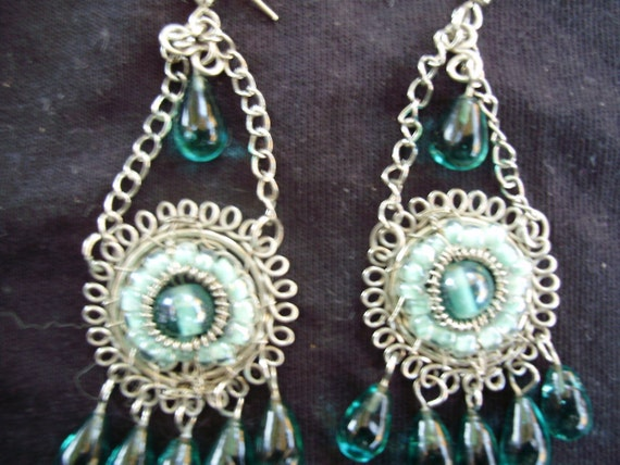 Aqua Czech glass bead and silver drop Earrings,,3inch x 1inch