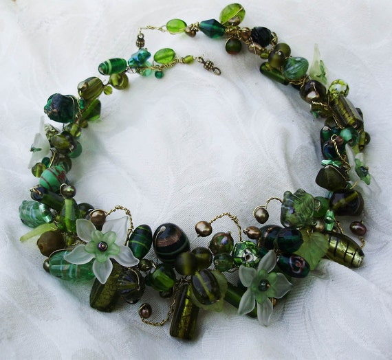 Beautiful Nature inspired woodlands layered Necklace 19inch-48.5cm