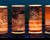 Glass Luminary, Vase, Custom Vintage Cupcake Artwork, Personalized, Votive Tea Light, Candle Holder, cupcake design