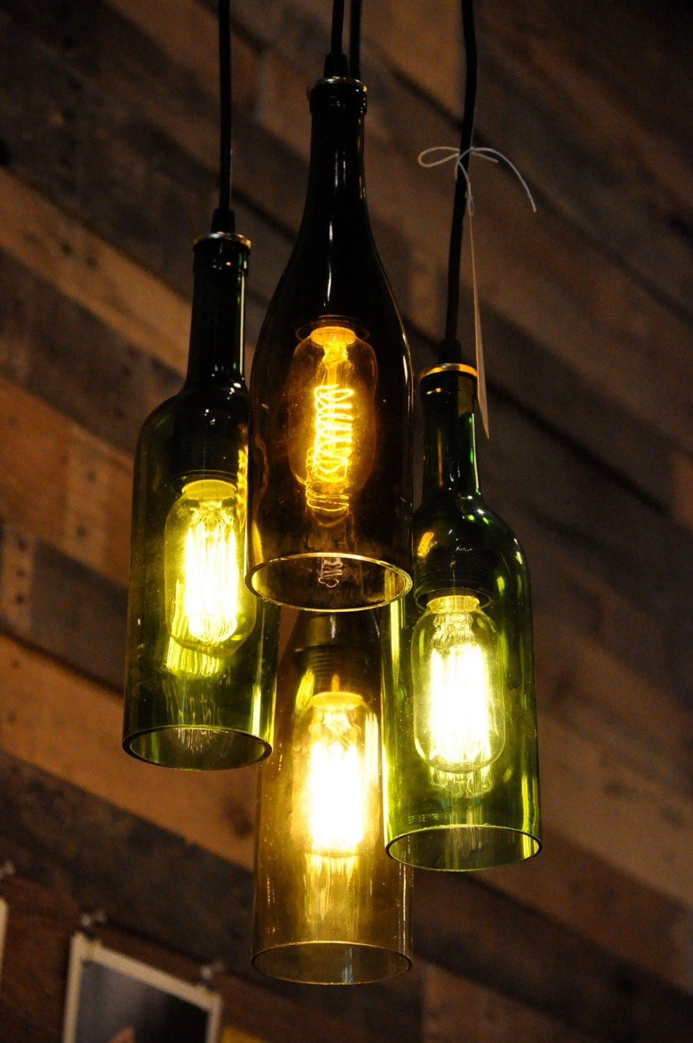 4 light chandelier recycled wine bottle pendant by moonshinelamp - Wine bottle pendant light ...