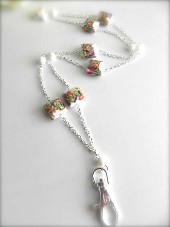 Rainbow Sorbet White with Color Mix Beaded ID Lanyard