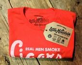 Real Men SMOKE CIGARS shirt. Hand printed on American Apparel - Red