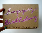 Happy Birthday Hand Drawn Card, Recycled Paper, 5x7