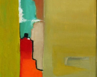 Abstract original oil painting landscape red orange tourquise muted green and black Fine art Jan Smiley
