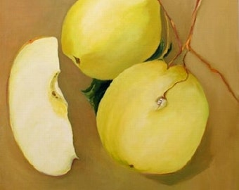 "Original oil painting apples green 36""x36x' uframed white"