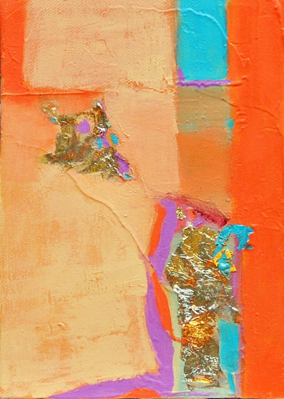"""Original oil painting abstract  orange red purple tourquise gold and silver leaf on 5""""x7"""" canvas fine art by Jan Smiley"""