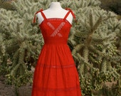 Vintage 1960s Mexican Pintucked Red Cotton Lace Summer Day / Party dress / Tie Strap / Full Skirt Sun dress - Size Small to Medium.