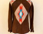 Vintage 1970s Southwestern Navajo Blanket Print  Brown Leather Jacket by Ms. Pioneer - Size Large