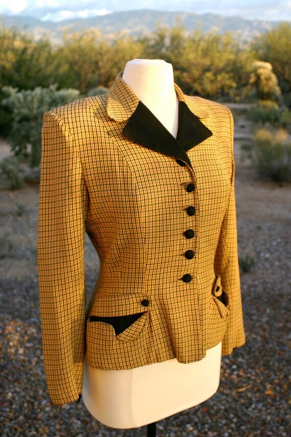 Vintage 1940s Pin Up Yellow Gingham Print Gabardine Jacket / Blazer with Nipped Waist - Size Medium to Large