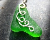 Irish Green Sea Glass Necklace - Sterling Silver - Genuine Sea Glass Jewelry