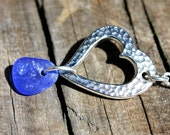 Blue Heart Sea Glass Necklace - Forged Rhodium - Cobalt Sea Glass Jewelry