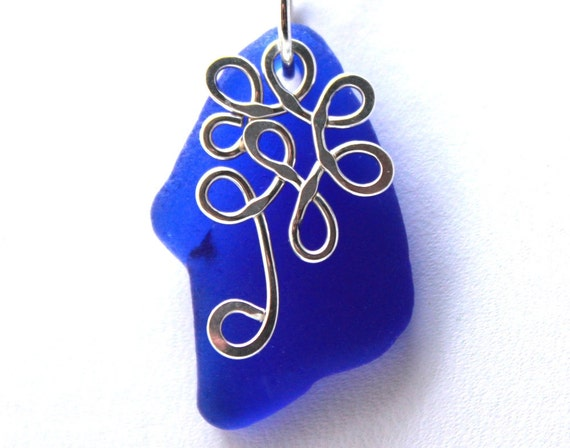 Cobalt Blue Sea Glass Necklace - Sterling Silver Tree - Hand Forged - Sea Glass Jewelry