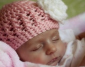 Baby Girl Crochet Flower Hat- Pink with White Flower