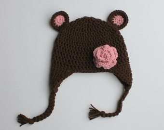 Baby Bear Earflap and Flower Hat- Dark Brown and Pink