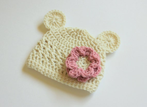 Baby Girl Bear and Flower Crochet Hat- Cream/Oatmeal with a Rose/Pink Flower