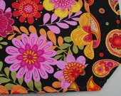 "RESERVED For Beth 72"" Reversible Quilted Table Runner - Penny Lane Pop Floral/Paisley on Black  - Pink/Orange/retro/hippie/bright colors"