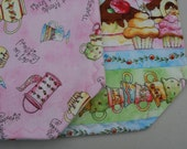 set of 4 Reversible Cotton Quilted Placemats - Tea and Sweets Pink Stripe -  Tea Party / Mad Hatter / Cakes / Teapots / Teacups