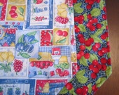 Set of 4 Reversible Quilted Placemats -  Mixed Fruit With Cherries on Blue  - Cherries/blueberries/strawberries/baskets