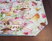 Set of 4 Reversible Quilted Placemats - Tea and Sweets Green Collage with Treats Tossed on Green